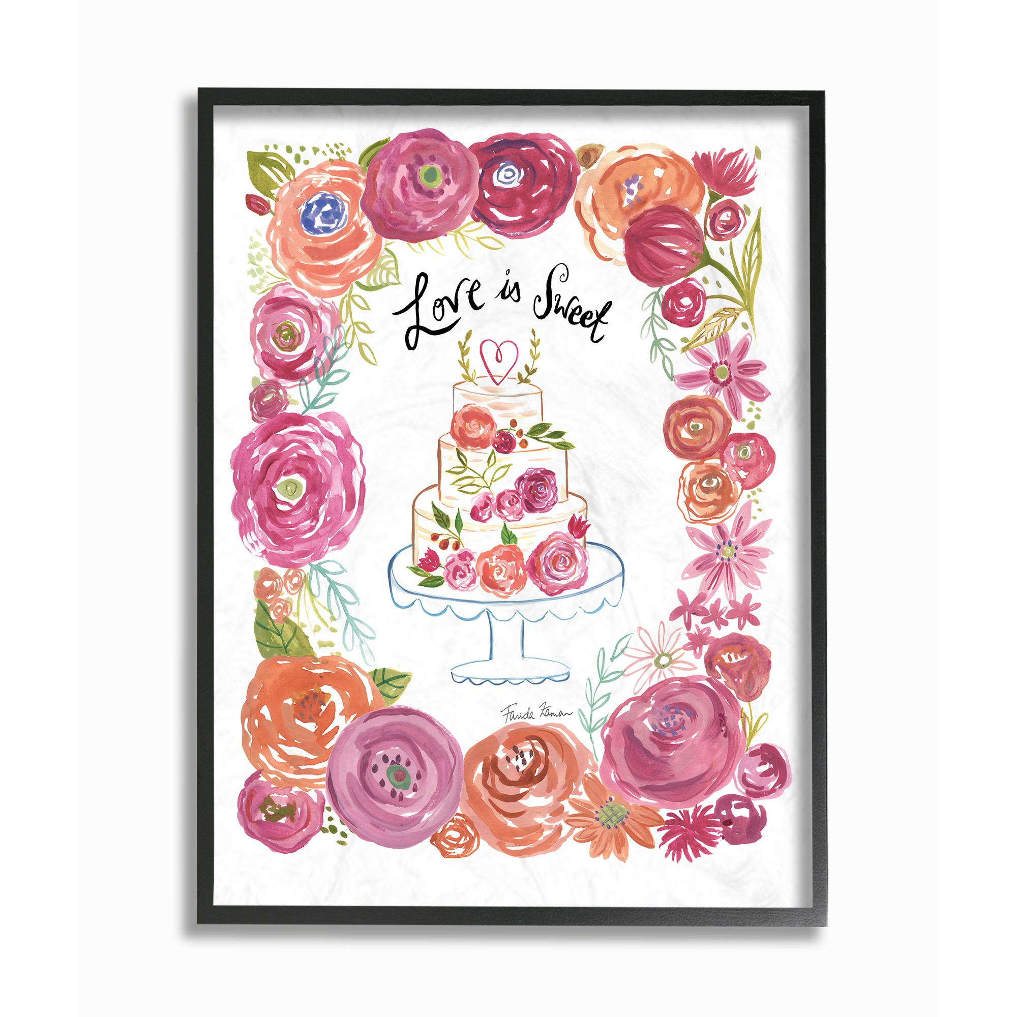 The Stupell Home Decor Collection Love Is Sweet Flowers And Cake Framed Giclee Texturized... by Stupell Industries