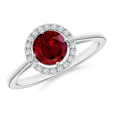 Valentine Jewelry Gift - Floating Round Garnet Ring with Diamond Halo in Platinum (6mm Garnet) - SR1081GD-PT-AAA-6-12
