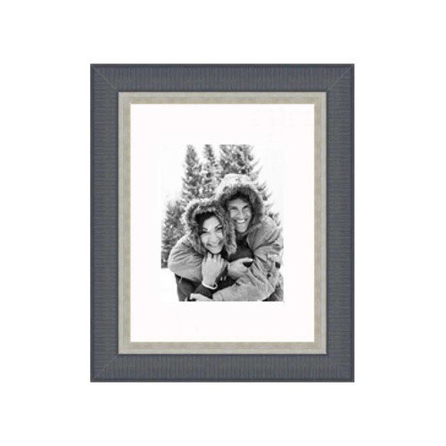 Frames By Mail 11'' x 14'' Traditional Frame in Black with Silver Lip
