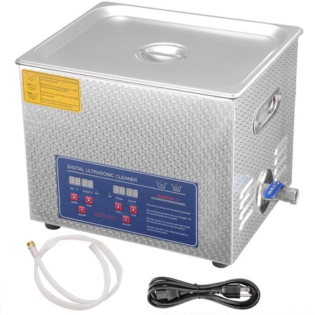 10 l liter stainless steel ultrasonic cleaner 490w digital for Stainless steel jewelry cleaner