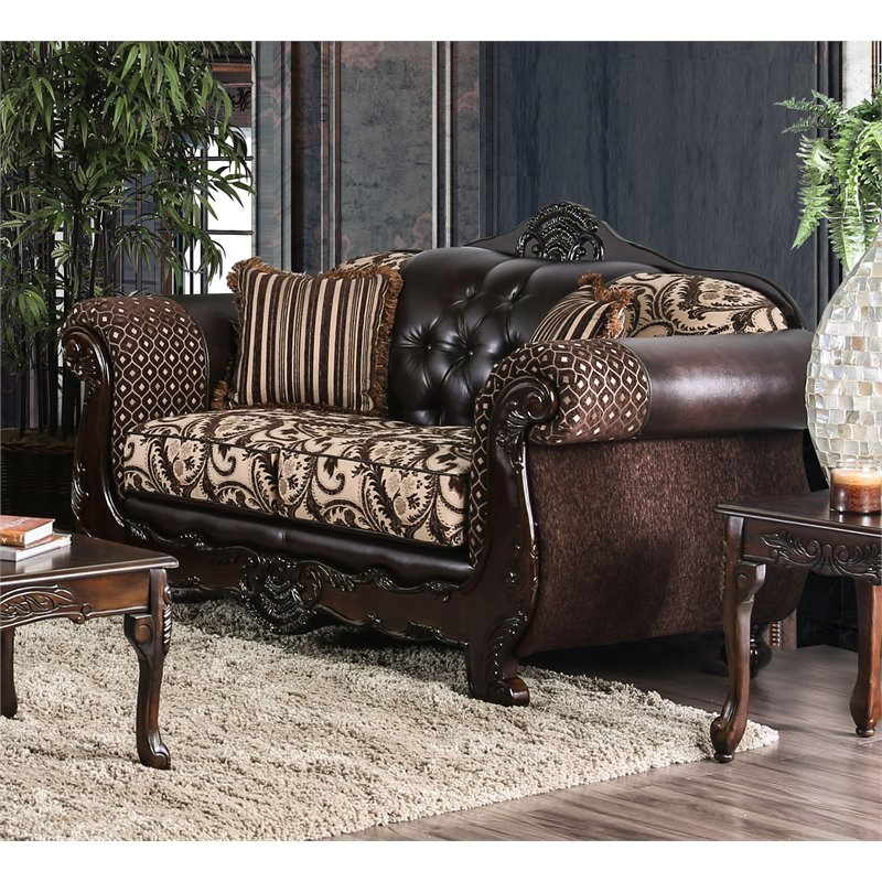 Furniture of America Elly Faux Leather Loveseat in Dark Brown