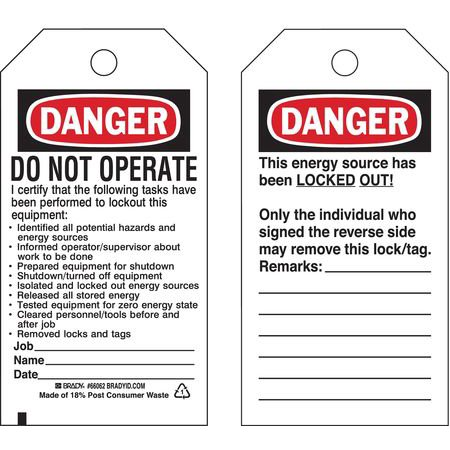 65450 Kit - BRADY 65450 Danger Tag,5-3/4 x 3 In,Cardstock,PK25