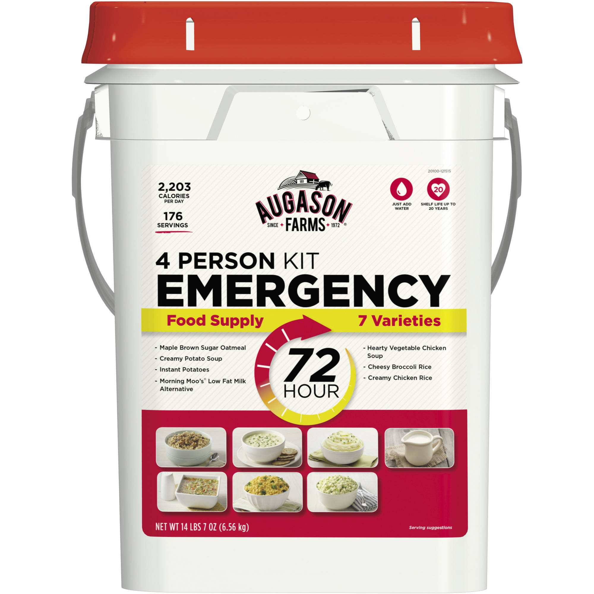 Augason Farms Emergency 4-Person 72-Hour Emergency Food Pail, 14.44 lbs