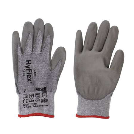 Ansell 11-627-7 HyFlex Lycra Safety Gloves, Size 7, Gray, 12 Pairs