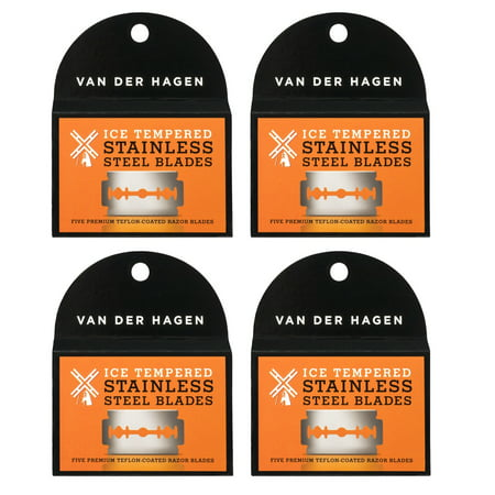 Van Der Hagen Stainless Steel Double Edge Razor Blades 5 Blades (Pack of 4) + Yes to Tomatoes Moisturizing Single Use Mask (Der Strampelanzug)