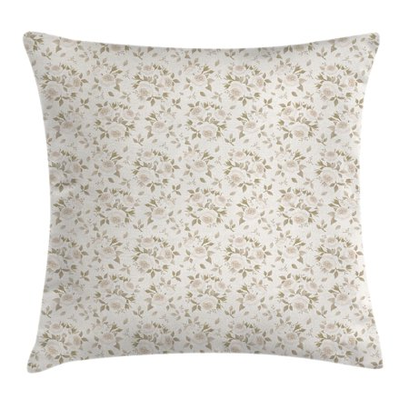 Flourish Flower Essence - Ivory Throw Pillow Cushion Cover, Flourished Rose Flower Blossoms Petals Motif Essence Elegance Classic Design, Decorative Square Accent Pillow Case, 18 X 18 Inches, Sage Green Coconut, by Ambesonne