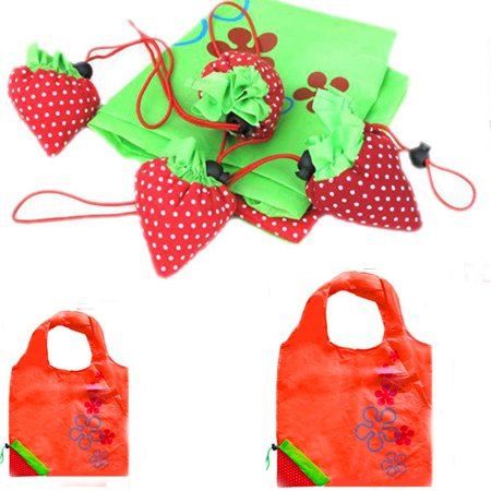 New Simple Strawberry Fruit Green Folding Convenience Shopping Bag RD Green Bag Fruit