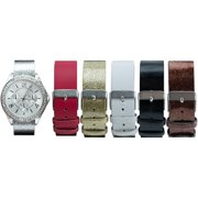 Women's Silver-Tone Case Watch Set with 6 Interchangeable Watch Straps