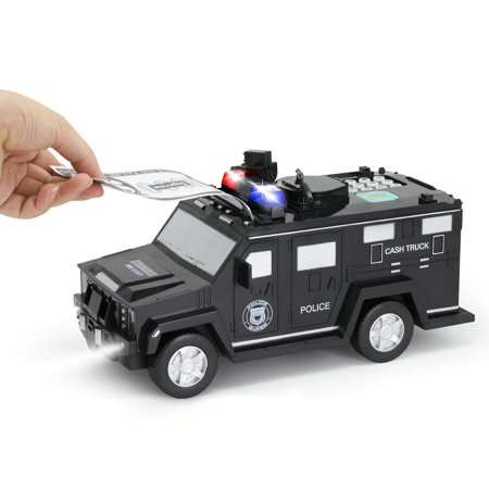 GuDoQi Armored Car Bank Password Piggy Bank with Music and Light Electronic Money Bank Toy Car Birthday Gifts for Kids Black Armored Car Savings Bank