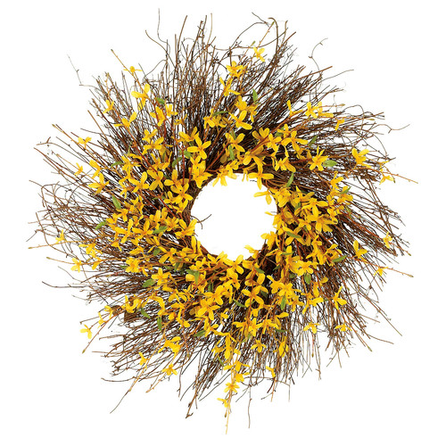 Silk Flower Depot 24'' Forsythia Wreath with Twigs