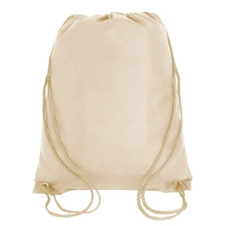 Drawstring Backpack Cinch Daypack Lightweight Gym Sack Bag Training Sports Travel 25 Khaki