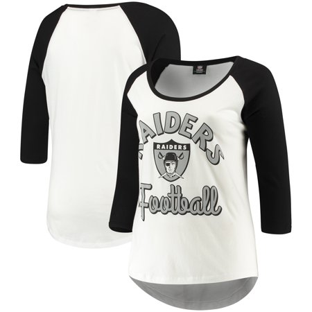 best service f4864 7bf70 Oakland Raiders 5th & Ocean by New Era Women's Plus Size 3/4-Sleeve Raglan  T-Shirt - White/Black
