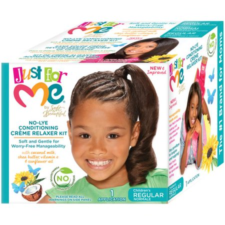 Just For Me par Soft & Belles No-Lye régulier pour enfants Conditioning Creme Relaxer Kit