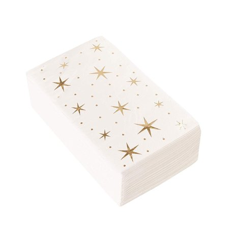 Gold Dinner Napkins - 50-Pack Gold Foil Stars Disposable Paper Napkins, Wedding, Bridal Shower, Birthday Party Supplies, Twinkle Stars Print, 1/6 Fold 3-Ply, White, Folded 4 x 8 Inches Napkin Dinner Disposable