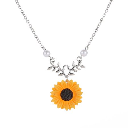 iLH Women Yellow Gold Plated Sunflower Leaf Branch Charm Pendant Long
