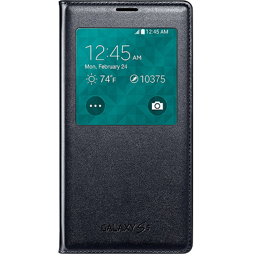 Samsung Galaxy S5 Wireless Charging Case S View Flip Cover Folio - Black