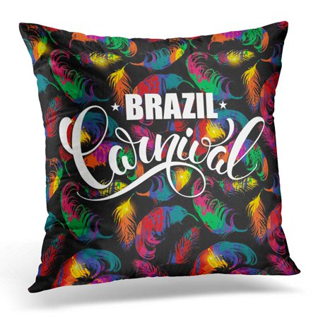 BOSDECO Bird Brazil Carnival Lettering Design on Bright with Abstract Feathers for Concept and Other Users Dance Pillowcase Pillow Cover Cushion Case 20x20 inch - image 1 of 1