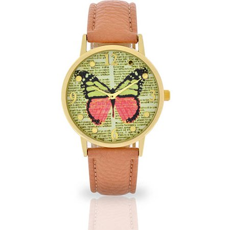 Women's Salmon Butterfly Dial Watch, Faux Leather Band Pink Dial Leather Band