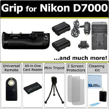 Battery Grip for Nikon D7000 DSLR Camera, EN-EL15 Battery, Charger, Remote Control, SD + All Format Card Reader & eCostConnection Starter Kit ()