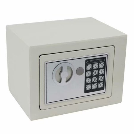 Digital Electronic Safe Box Small Home Office Security Safe with Digital Lock Wall Cabinet Safe for Jewelry Money Gun Valuables,Solid Steel Free Gift with 4 Batteries (White)