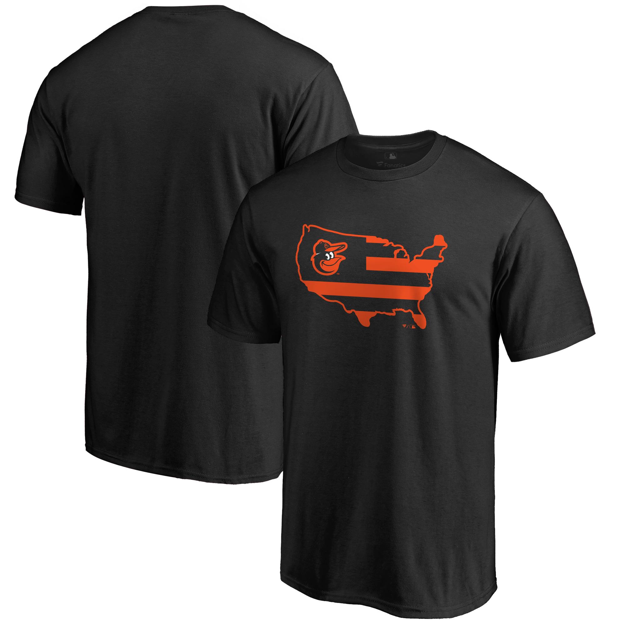 Men's Black Baltimore Orioles Broad Stripes T-Shirt