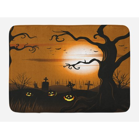 Halloween Bath Mat, Leafless Creepy Tree with Twiggy Branches at Night in Cemetery Graphic Drawing, Non-Slip Plush Mat Bathroom Kitchen Laundry Room Decor, 29.5 X 17.5 Inches, Brown Tan, Ambesonne - Halloween Cemetery Drawings
