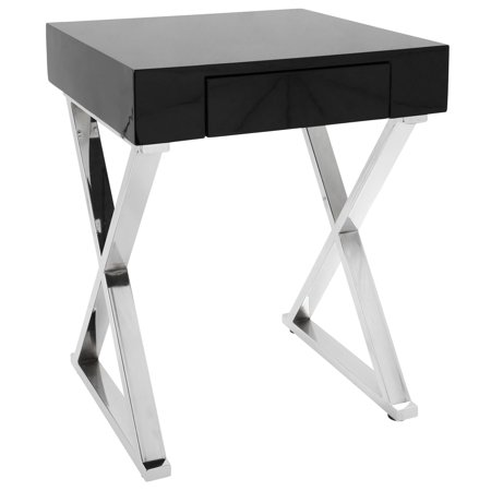 Luster Contemporary Side Table in Black and Chrome by LumiSource