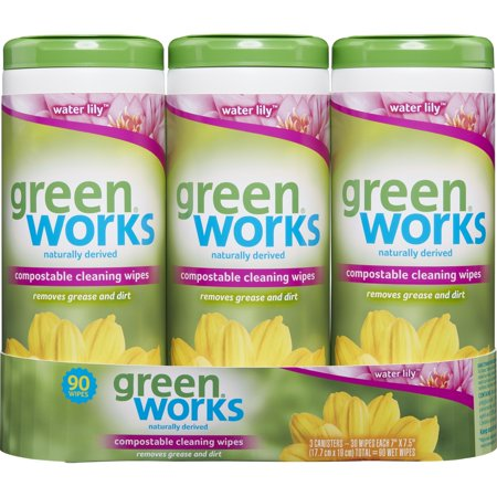 Green Works Compostable Cleaning Wipes, Biodegradable Cleaning Wipes - Water Lily, 30 ct