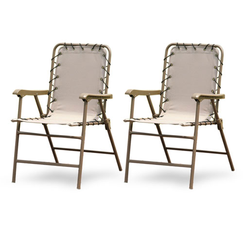 Hometrends 2-Pack Bungee Folding Chair, Natural
