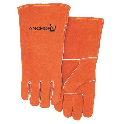 Premium Leather Welding Gloves, Split Cowhide, Large, Russet