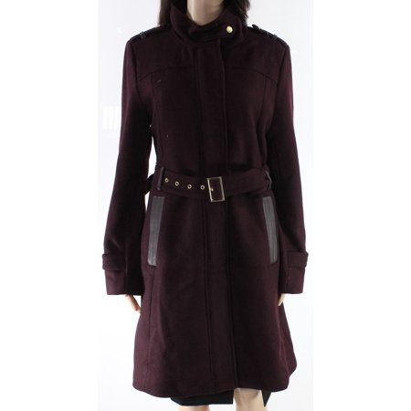Cole Haan Womens Long Wool Blend Belted Jacket