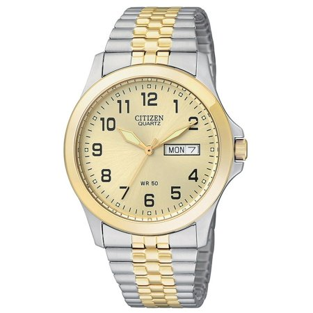 Citizen BF0574-92P Men's SL Quartz Two Tone Expansion Band Day Date Analog Watch Citizen Watches Day Date Bracelets