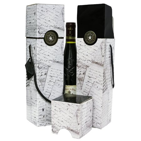 Wine Gift box x2 - Reusable Caddy - Easy to Assemble - No Glue Required - Gift Tag Included - Vintage Letters Design with Round Broach - Petrus collection - EZ Wine Gift Box By Endless Art US](Round Gift Boxes)