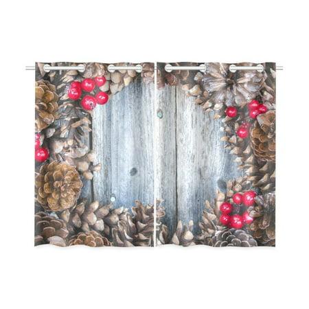 Mypop Rustic Christmas Pine Cone And Red Berries Window