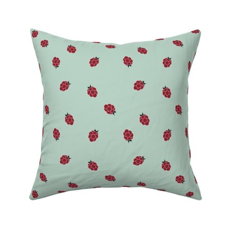 Tiny Raspberries Fruit Ruby Red Throw Pillow Cover w Optional Insert by Roostery