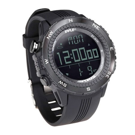 Pyle Multifunction Active Sports Watch With Altimeter  Barometer  Chronograph  Compass  Count Down Timer  Measuring   Weather Forecast Modes  Black