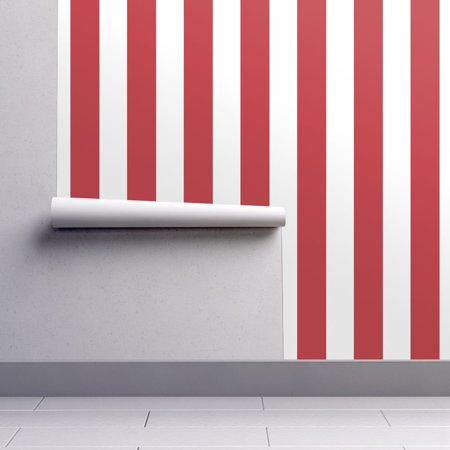 Peel-and-Stick Removable Wallpaper Circus Stripes Circus Red Vertical Stripes