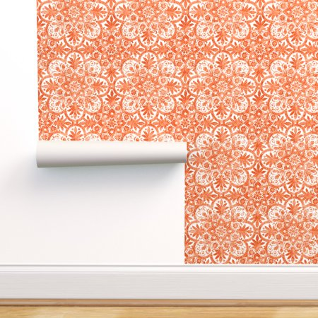 Minions Halloween Wallpaper (Peel-and-Stick Removable Wallpaper Tile White Orange Halloween And)