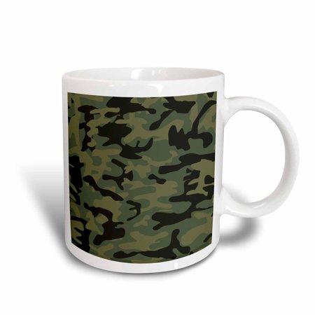 3dRose Dark green camo print - hunting hunter or army soldier uniform style camouflage woodland pattern, Ceramic Mug, 15-ounce