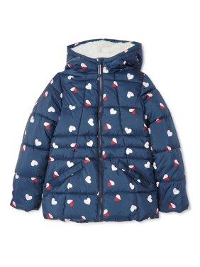 Wonder Nation Girls Printed Bubble Jacket, Sizes 4-18