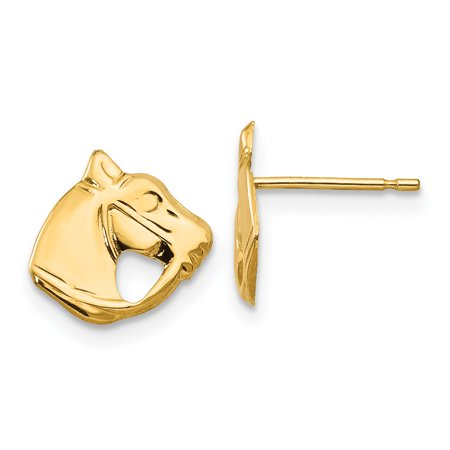 14k Madi K Polished Horse Head Post Earrings