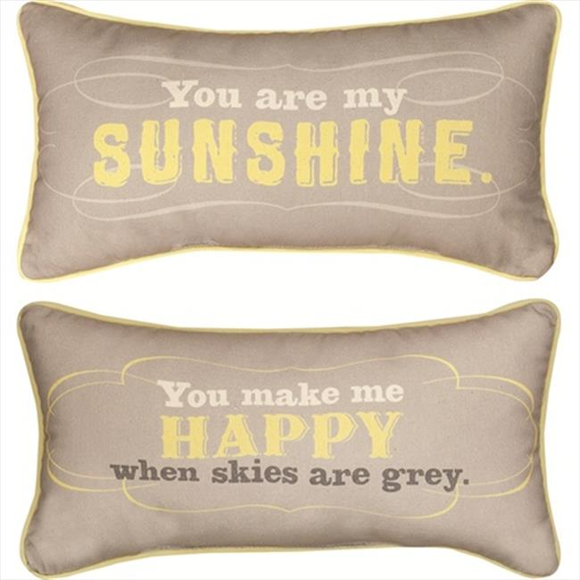"""17"""" Reversible Yellow and Gray """"You Are My Sunshine"""" Decorative Throw Pillow"""
