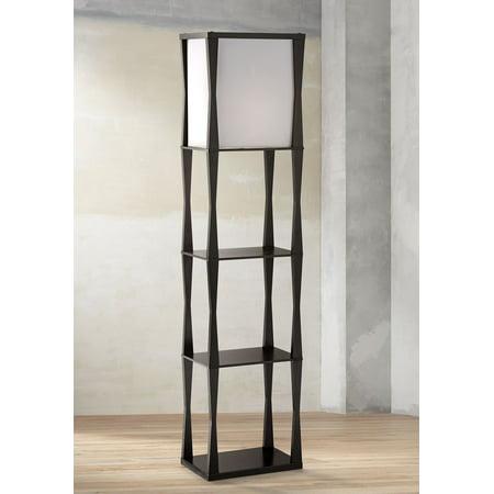 360 Lighting Asian Etagere Floor Lamp Ebony Wood Frame Drop in Box Linen Shade for Living Room Bedroom (Ebony Wood Floors)