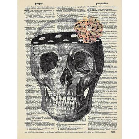 Art N Wordz  Hers  Skull Flower Original Dictionary Sheet Pop Art Wall Or Desk Art Print Poster