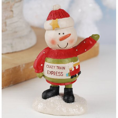 - The Holiday Aisle Crazy Train Express Snowman Figurine