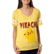 Pikachu Juniors' Graphic V-Neck Football Hi-LowTee