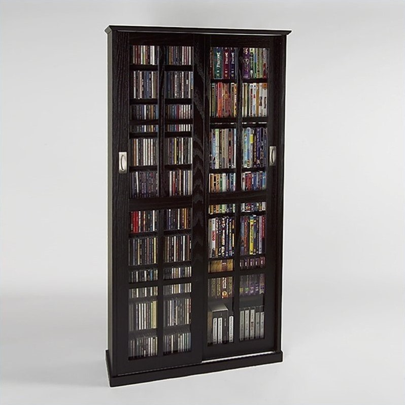 "Leslie Dame 62"" Double CD DVD Wall Media Storage Cabinet in Espresso"