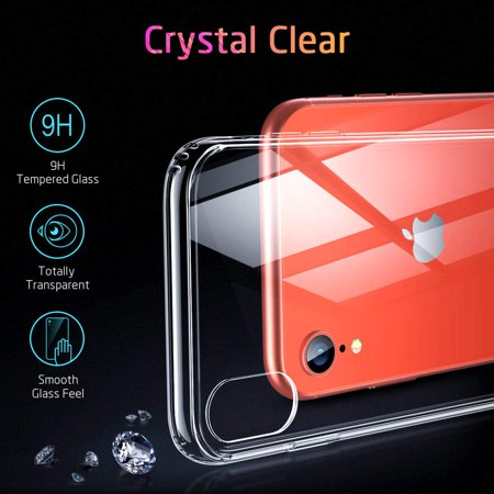 Mimic Series Glass Case for iPhone XR, by ESR 9H Tempered Glass Back Cover Scratch Resistant, Soft Silicone Bumper Shock Absorption , Clear/Red Blue Crystal - image 7 de 9