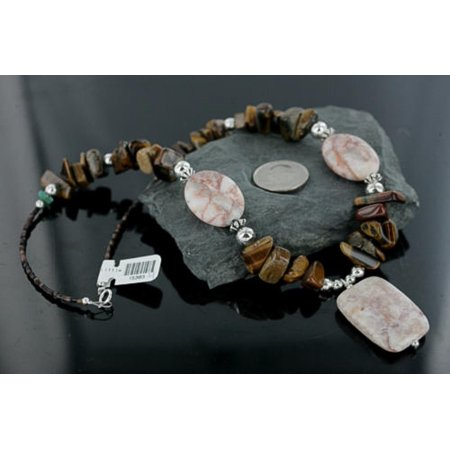 Large $290 Certified Authentic Navajo .925 Sterling Silver Natural Tigers Eye Jasper Turquois Native American Necklace