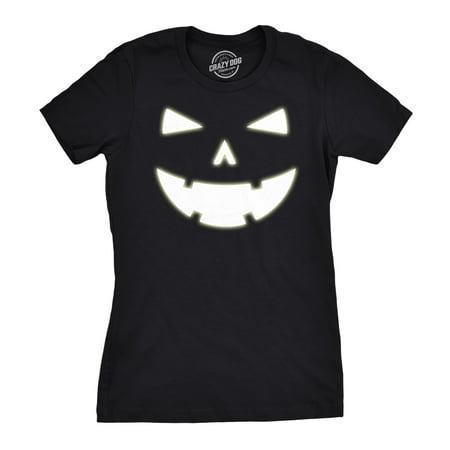 Happy Halloween Kawaii (Womens Happy Tooth Glow in the Dark Pumpkin T Shirt Face Halloween Tee For)